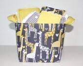 Gender Neutral Baby gift basket,Burp cloth set,Wash cloth set,bib and  fabric storage bucket.