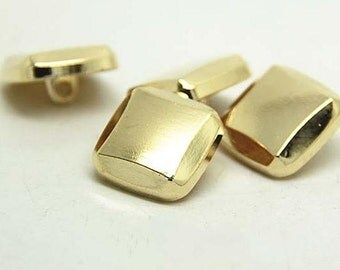 6 pcs 0.98*0.39 inch Gold Singular Square Metal Shank Buttons for Suits Coats