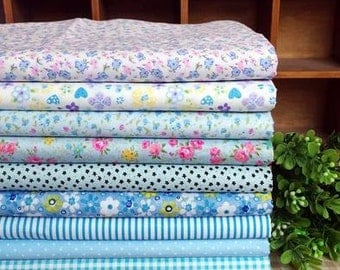 9 pieces Blue Group Series Color collection Cotton Cloth  Quilt Fabric-DIY Handmade Fabric Cloth
