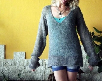 Handknit V Neck Sweater, Knit Tunic, Grunge Sweater, Loose Knit Sweater, Mohair Blouse