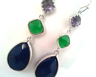 Palace Green with Indigo Blue Drop, Dangle, Earrings, bridesmaid gifts,Wedding jewelry, Gemstone, Valentine' Day