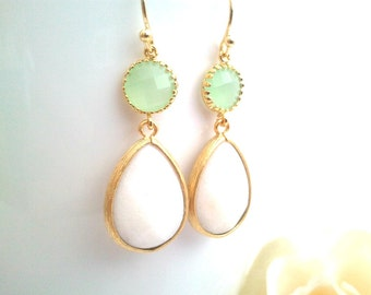 White Wedding earrings, Light Mint Dangle Earrings, Drop, bridesmaid gifts, Gemstone,Wedding jewelry,Dangle,Mother's Day Gift