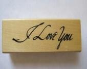 "Anita's I Love You Rubber Stamp Stencil Size 3"" Length E605s"