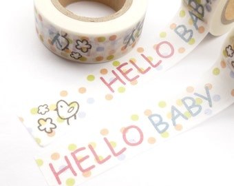 Hello Baby - Colorful Baby Girl or Baby Boy Newborn Washi Tape - E888