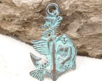 Mermaid on Anchor Patina Casting Pendant, Mykonos Casting Beads (1) - M60