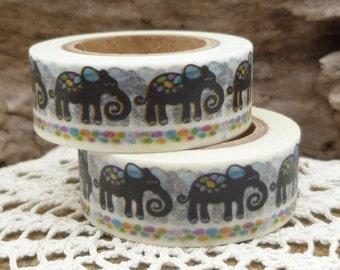 Black Circus Elephant Washi Tape - X1232