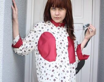 A 'Magenta' Cream Paisley Shirt