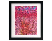 8.5 x 11 Red Fall — Fractal Leaves — Leaf Doodle Giclée Art Print, Signed & Numbered, Reds Lines
