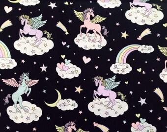 Cute Unicorn Print Japanese Fabric Black - 110cm x 50cm