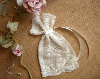 Ivory Favor Bags, Baby Shower Favor, Baby Christening Bags, Vintage Lace Favor Bags