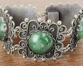 Jahrgang mexikanischen Sterlingsilber Schmuck handgefertigt Mexiko 5-Panel-Armband mit grünen Natursteine Hecho En Mexiko