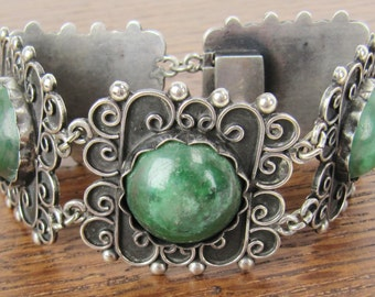 Vintage Mexican Sterling Silver jewelry hand made Mexico 5 panel bracelet with natural green stones Hecho en Mexico