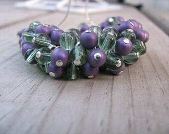 JEWELRY SALE- Cluster Necklace in Purple and Green