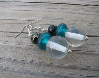 JEWELRY SALE- Blue, Green, Yellow Earrings- Glass Earrings