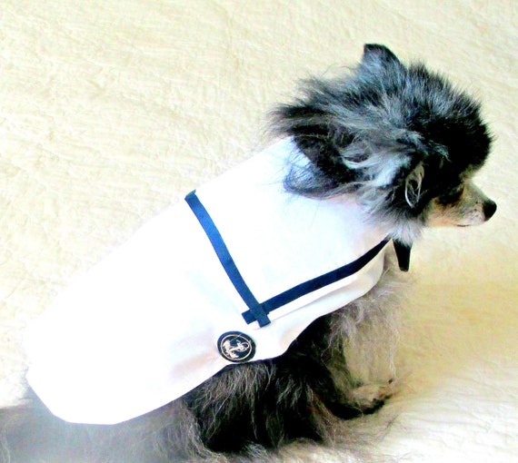 Small Dog Sailor Shirt Teacup Toy Sizes Custom to Fit - White Poly Cotton with Navy Trim and Anchor Applique, Yorkie Chihuahua Shih Tzu