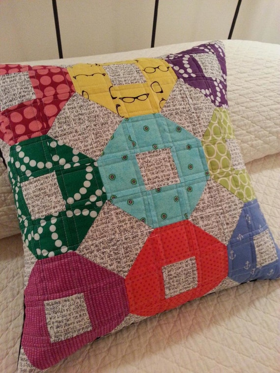 Modern Quilted Pillow Covers : SALE modern quilted mini shoo-fly pillow cover