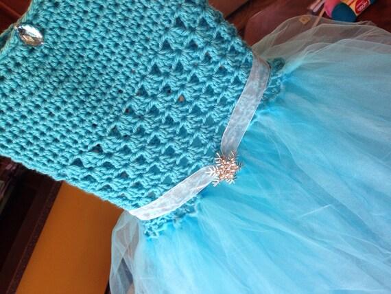 Items similar to Elsa Frozen inspired crocheted tutu dress ...