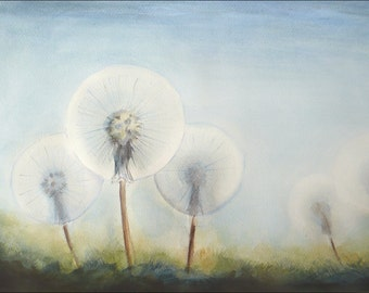 Dandelion Dreams, Watercolor Painting, Dandelions Art, Flower Watercolor, Original Painting, Plants Art, Floral Aquarelle, Botanical Art