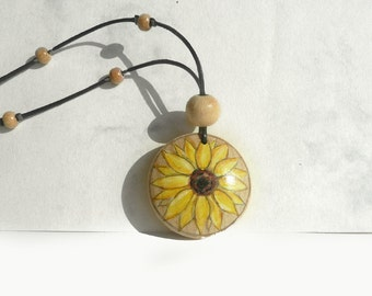 Hand Painted Necklace, Sunflower Necklace, Beaded Necklace Art Painting Wood Beads Necklace, Nature Necklace, Unique Jewelry by Artdora