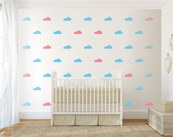 Clouds pattern wall decal, 1,2 or 3 colors. Nursery Wall Decal. Wall Sticker. Removable