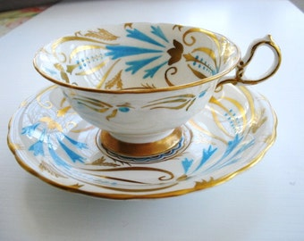 Fabulous Royal Chelsea Cup and Saucer Hand Painted Blue and Gold Decorations Made in England