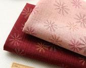 Summer Cotton Fabric, Dandelion Flower Fabric In Grey Peach Pink Dark Red - 1/2 yard
