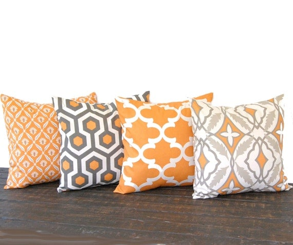 Throw Pillows Set Of 4 : Throw pillow covers 20 x 20 Set Of Four pumkin by ThePillowPeople