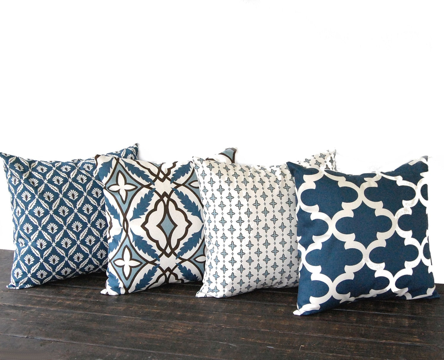 Throw Pillows Set Of 4 : Throw pillow covers Set Of Four blue natural chocolate brown
