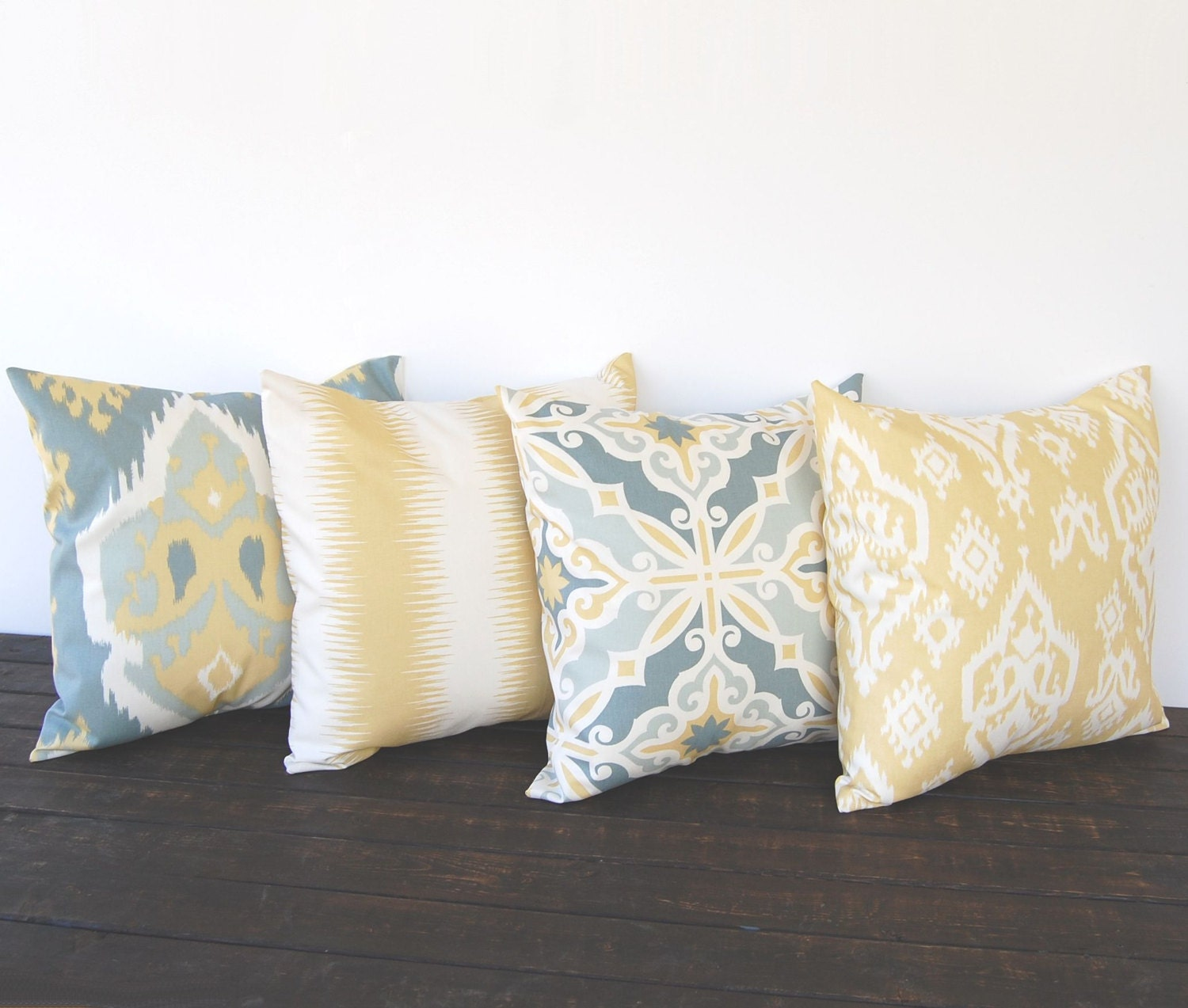 Throw pillow covers Set Of Four gray ivory saffron yellow Ikat