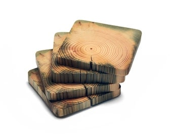 Scandinavian Pine Coasters. Wooden coasters. Drink Coasters. Eco friendly product. Set of 4