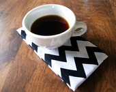 Black and White Chevron Print Cotton Cloth Napkins - 2 Pack