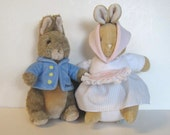 Vinage Peter Rabbit and Mrs. Rabbit, Stuffed Animals, Gund, Eden, Toys, Kids, Beatrice Potter, nursery decor