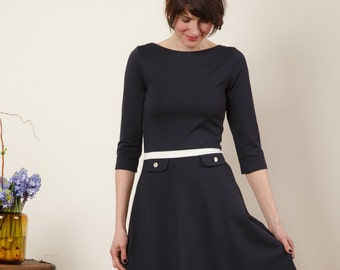 "Dress ""Elisa"", with a round skirt in dark blue"