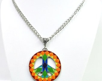 Multicolor Mosaic Peace Sign Symbol Pendant Necklace
