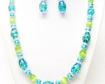 Oval Green Lampwork w/Green Peridot Glass Bead & Rondelle Rhinestone Necklace and Earrings Set