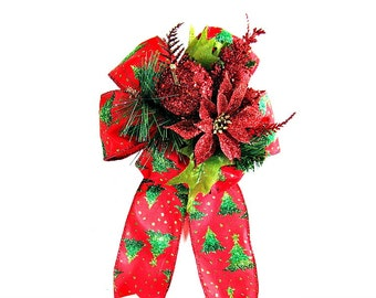 Glitter Christmas holiday bow, Gift wrap bow, Large red and green Christmas tree bow, Christmas in July gift bow, Bow for presents (C314)