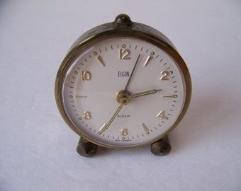 Vintage Small Elgin Wind-Up Alarm Clock, West Germany