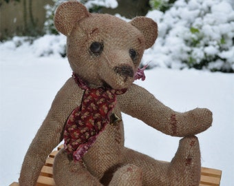 "Fretta's Original 13.5"" OOAK Old Time Burlap Bear, Folk / Primitive doll, jointed Prim Teddy Bear."