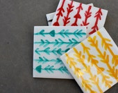 CUSTOM ORDER - Amy M - Arrow, Tribal Pattern, Ceramic Coasters