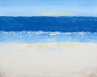 "SALE! Original modern abstract Seascape acrylic painting ""Serenity of Morning"", 20"" x 20"" on canvas.  Beach decor."