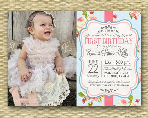 1st Birthday Invitation Shabby Chic Tea Party Floral Roses