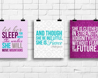 Ler her sleep art, and though she be but little, she is fierce, she is clothed in strength art, nursery girl prints, baby nursery wall decor