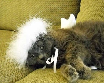 Christmas Pet Angel Costume Small Dog or Cat  Photo Prop  Pet Halloween or Christmas Costume