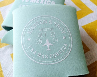 Destination Wedding can coolers, beach wedding coolie, mexico theme passport wedding favors, beach wedding favor