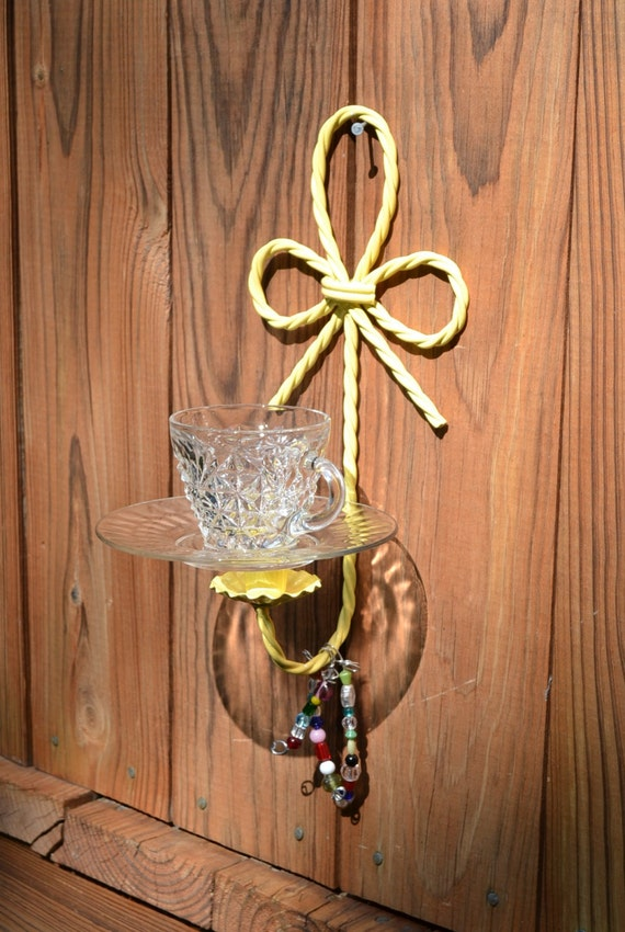 Bird feeder yellow upcycled vintage glass metal by for Upcycled bird feeder