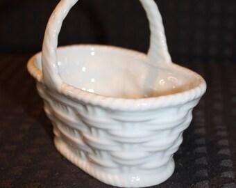 Vintage White Woven Basket Limoges Made In France