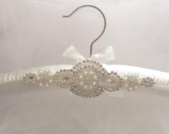 Padded Wedding Dress Hanger, white or ivory.... Rhinestone padded hanger