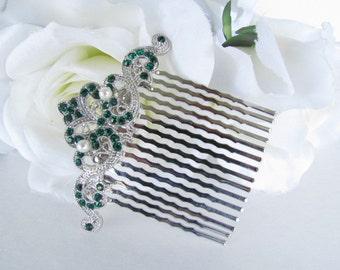 Emerald Green and Pearl Hair Comb,Emerald Green Hair Comb,Bridesmaid Green Bridal,Pearl Vintage Style Hair Comb,Art Deco,bridal tiara,hair