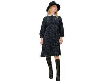 80s LBD  long sleeves dress / peter pan lace collar/ small