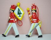 Vintage 1970's Cast Iron Set of 2 Santa's Soldiers Christmas Tree Ornament - VCYR20 - Medicinew2